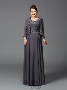 A-line Straps Lace Long Chiffon Plus Size Mother of the Bride Dress