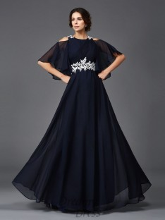 A-line Straps Long Chiffon Mother of the Bride Dress