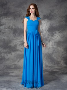 A-line Straps Ruffles Floor-length Chiffon Bridesmaid Dress