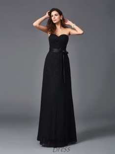 A-line Sweetheart Lace Sash/Ribbon/Belt Floor-Length Bridesmaid Dress