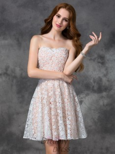 A-line Sweetheart Lace Short Cocktail Dress