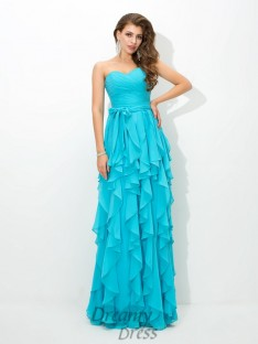 A-line Sweetheart Layers Floor-Length Chiffon Bridesmaid Dress