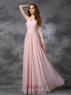 A-line Sweetheart Ruched Floor-length Chiffon Bridesmaid Dress