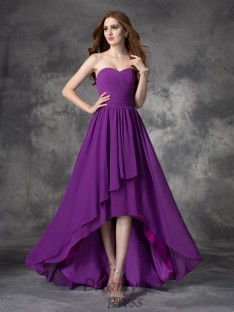 A-line Sweetheart Ruffles Asymmetrical Chiffon Bridesmaid Dress