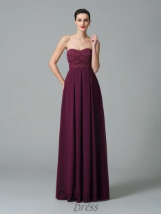 A-line Sweetheart Ruffles Floor-Length Chiffon Bridesmaid Dress