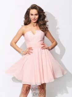 A-line Sweetheart Ruffles Short Chiffon Bridesmaid Dress