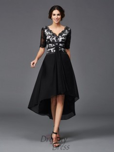 A-line V-neck 1/2 Sleeves Lace Asymmetrical Chiffon Dress