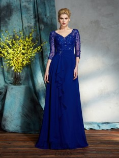 A-line V-neck Sequin Chiffon Long Mother of the Bride Dress