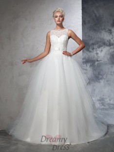 Ball Gown Bateau Net Chapel Train Wedding Dress