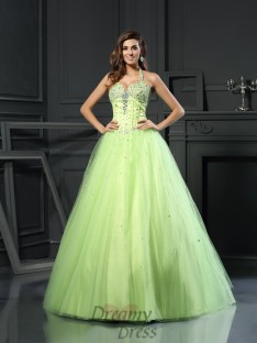 Ball Gown Halter Satin Floor-Length Dress