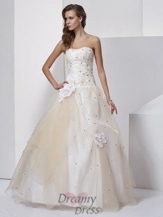 Ball Gown Hand-Made Flower Sweetheart Floor-length Tulle Dress