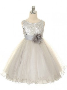 Ball Gown Jewel Tea-length Organza Flower Girl Dresses with Hand-made Flower