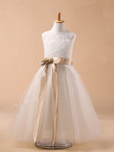 Ball Gown Jewel Tulle Flower Girl Dresses with Bowknot