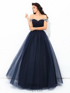 Ball Gown Off-the-Shoulder Floor-Length Net Quinceanera Dress