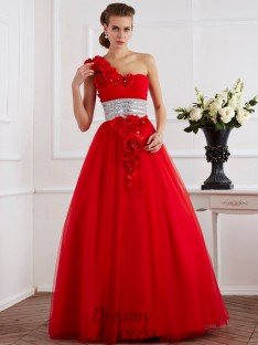 Ball Gown One-Shoulder Hand-Made Flower Net Floor-Length Dress