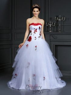 Ball Gown Strapless Court Train Satin Wedding Dress