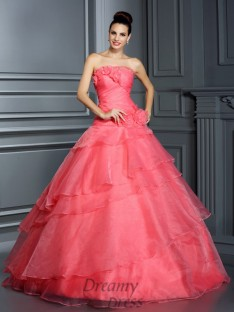 Ball Gown Strapless Floor-Length Organza Quinceanera Dress