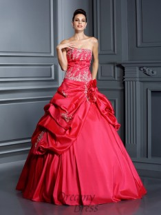 Ball Gown Strapless Floor-Length Taffeta Quinceanera Dress