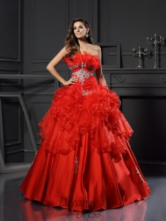 Ball Gown Strapless Organza Floor-Length Dress