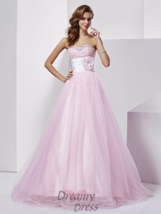 Ball Gown Strapless Sweetheart Net Elastic Woven Satin Floor-Length Dress