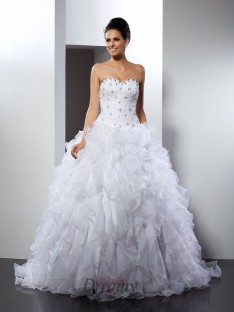 Ball Gown Sweetheart Court Train Satin Wedding Dress