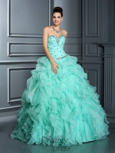 Ball Gown Sweetheart Floor-Length Organza Quinceanera Dress