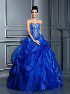 Ball Gown Sweetheart Floor-Length Satin Quinceanera Dress