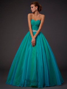Ball Gown Sweetheart Pleats Floor-length Tulle Dress