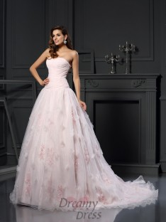 Ball Gown Sweetheart Satin Chapel Train Wedding Dress