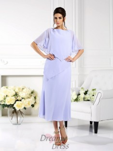 Bateau 1/2 Sleeves Ankle-Length Chiffon Mother of the Bride Dress
