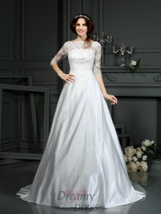 Bateau 1/2 Sleeves Satin Court Train Wedding Dress