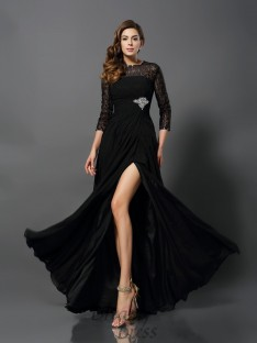 Bateau 3/4 Sleeves Chiffon Floor-Length Lace Dress
