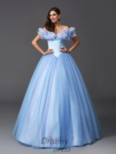 Cinderella Ball Gown Off-the-Shoulder Net Long Dress