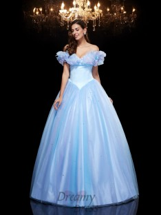 Cinderella Off-the-Shoulder Ball Gown Net Long Dress
