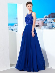 A-Line Jewel Chiffon Sweep/Brush Train Dress with Beading