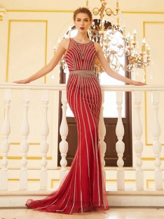 Sheath Scoop Net Sweep/Brush Train Dress with Beading