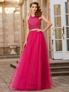 A-Line Halter Tulle Floor-Length Two Piece Dress with Beading