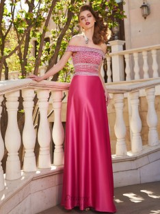 A-Line Off-the-Shoulder Satin Floor-Length Two Piece Dress with Beading