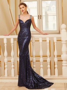 Sheath V-neck Sweep/Brush Train Sequins Dress with Beading