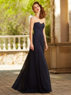 A-Line Sweetheart Floor-Length Chiffon Dress with Applique