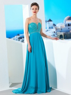 A-Line Sweetheart Chiffon Sweep/Brush Train Dress with Beading