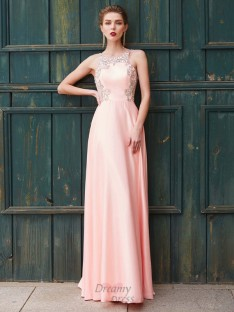 A-Line Scoop Satin Floor-Length Dress with Beading