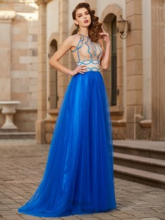 A-Line Jewel Floor-Length Tulle Dress with Beading