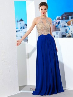 A-Line Scoop Floor-Length Chiffon Dress with Crystal