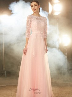 A-Line Bateau Floor-Length Tulle Dress with Applique