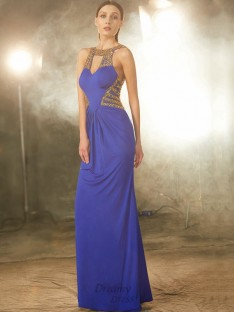 Sheath Scoop Floor-Length Spandex Dress with Beading