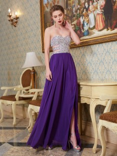 A-Line Sweetheart Floor-Length Chiffon Dress with Crystal