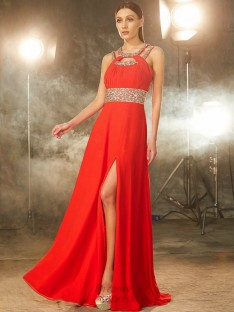 A-line Scoop Floor-length Chiffon Dress with Beading