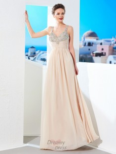 A-Line Spaghetti Straps Floor-Length Chiffon Dress with Beading