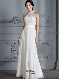 A-Line/Princess Scoop Floor-Length Chiffon Wedding Dress